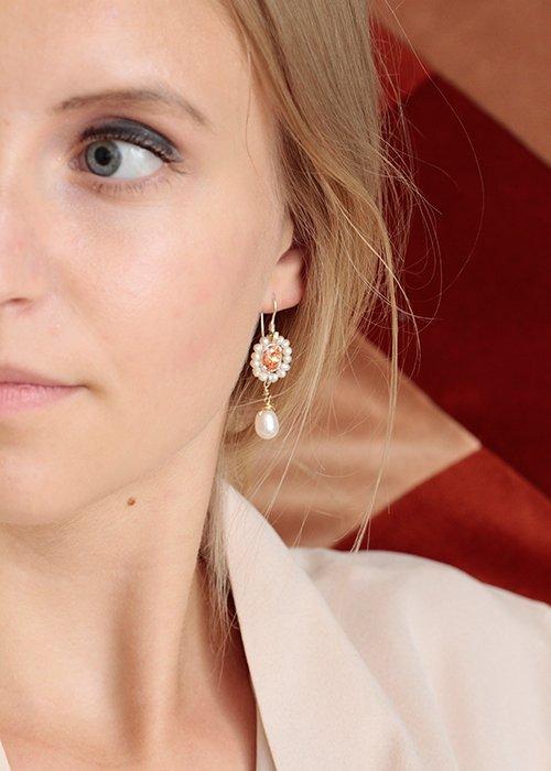 Øreringe Flower perler & krystal
