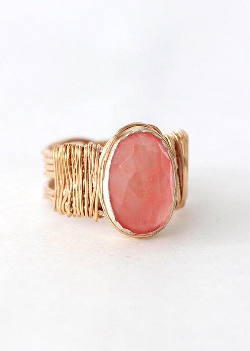 Wire ring cherry quartz