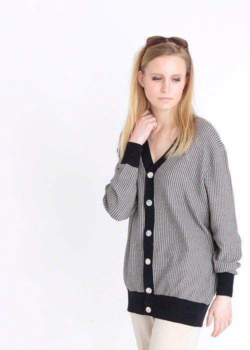 Oversize cardigan ecru/navy - FUB