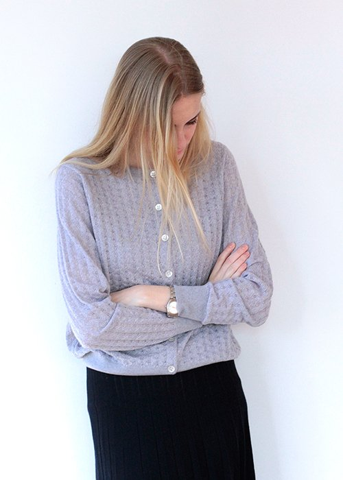 Cardigan strik pointelle light grey - FUB Woman