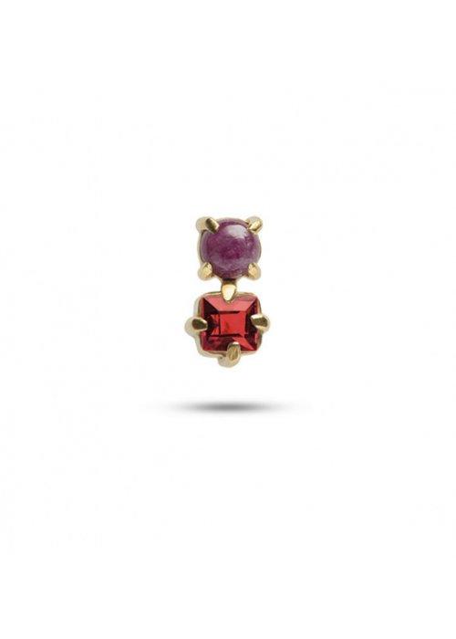 Ørestik dobbelt m. rubin & granat - Carré