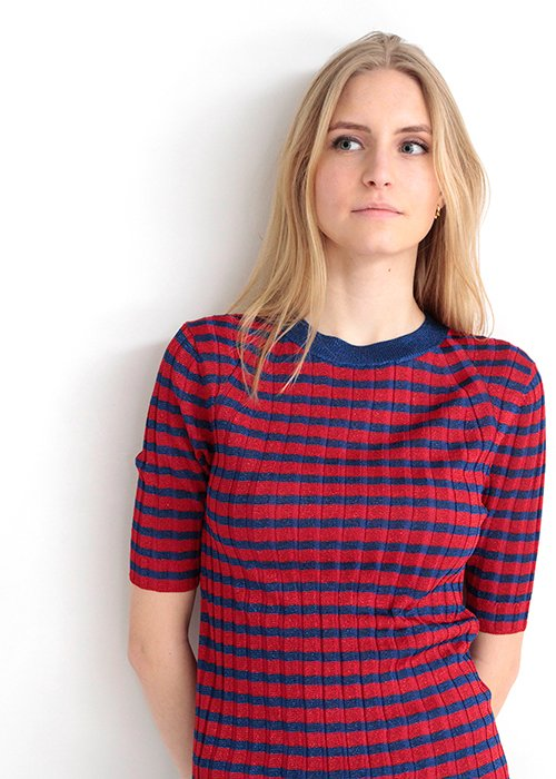 T-shirt strik marie glimmer blue/red - Graumann