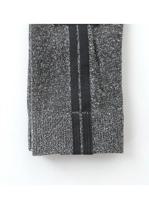 Ankelstrømpe grå/sølvglimmer m. strib - MP